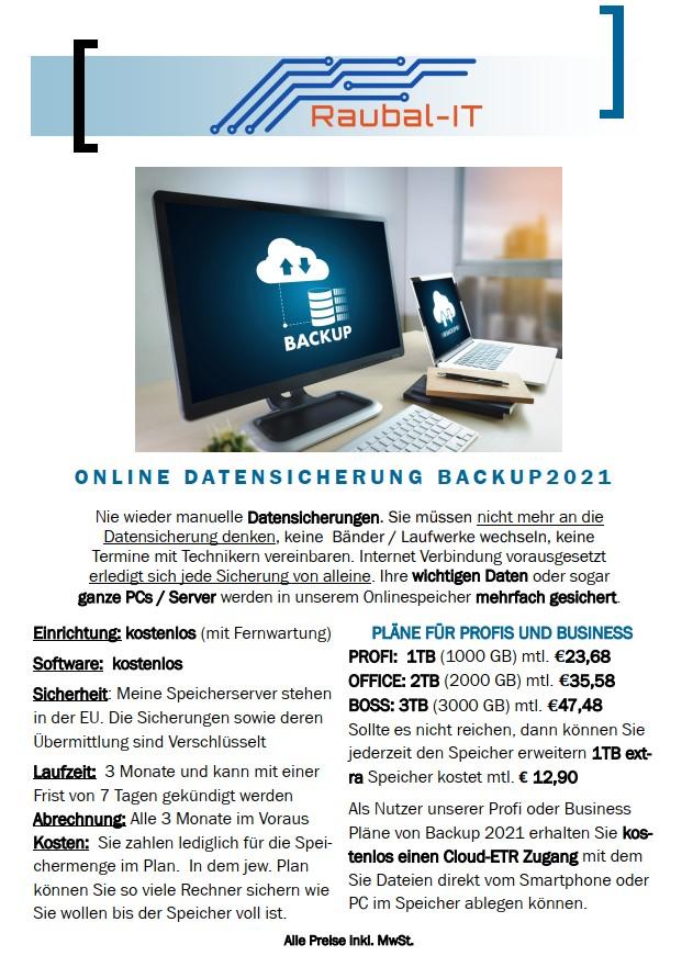 Als Nutzer unserer Profi oder Business Pläne von Backup 2021 erhalten Sie kostenlos einen Cloud-ETR Zugang mit dem Sie Dateien direkt vom Smartphone oder PC im Speicher ablegen können.