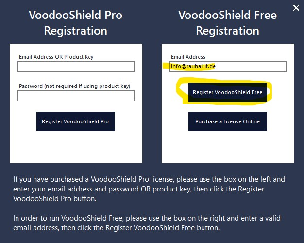 Voodooshield installation