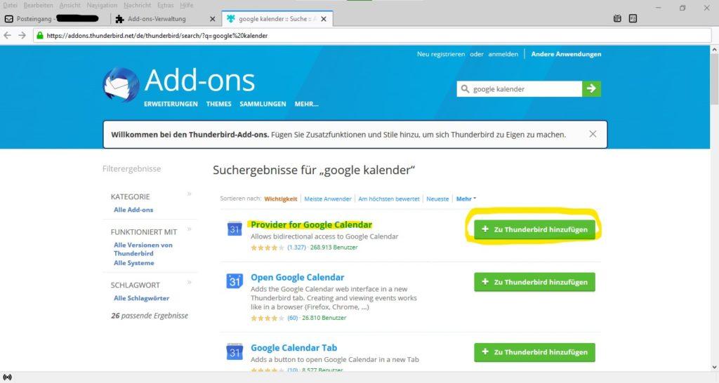 Provider for Google Kalender Add-on für Thunderbird installieren