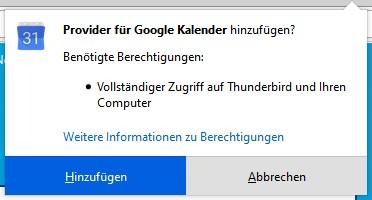 Installation von Provider for Google-Kalender in Thunderbird zustimmen