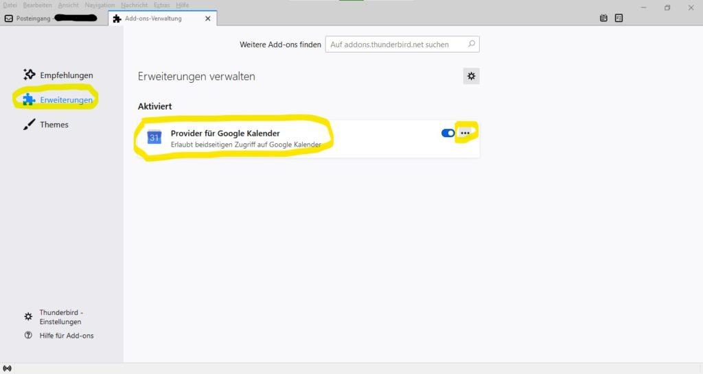 Provider for Google Kalender Addon in Thunderbird