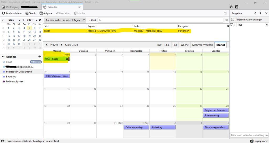 Thunderbird Kalender ansicht.