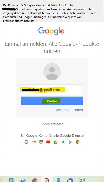 In Google Anmelden notwendig um Thunderbird Kalender mit Google-Kalender zu synchronisieren