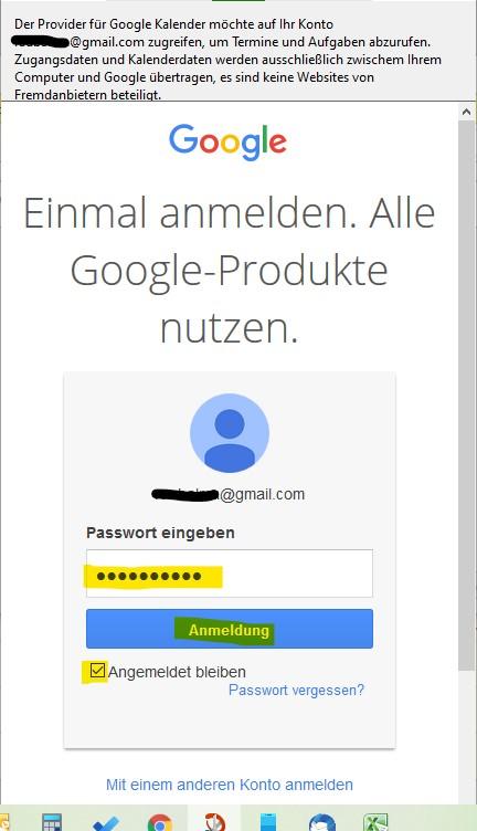 Passwort von Google Konto notwendig um Thunderbird Kalender mit Google-Kalender zu synchronisieren