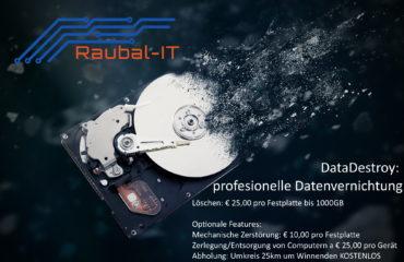 Datadestroy Datenvernichtung für Festplatten/SDD